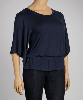 Navy Cape-Sleeve Top - Plus