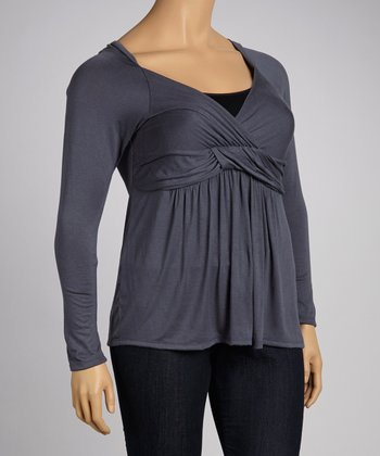 Gray Surplice Top - Plus