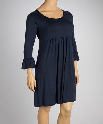 Navy Three-Quarter Sleeve Dress - Plus