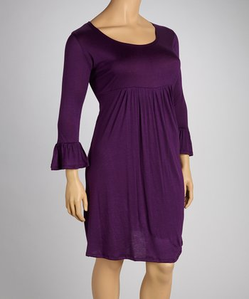 Purple Three-Quarter Sleeve Dress - Plus