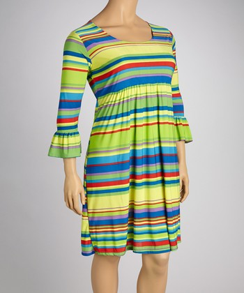 Purple & Lime Stripe Three-Quarter Sleeve Dress - Plus