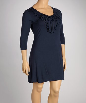 Navy Ruffle Elbow-Sleeve Dress - Plus
