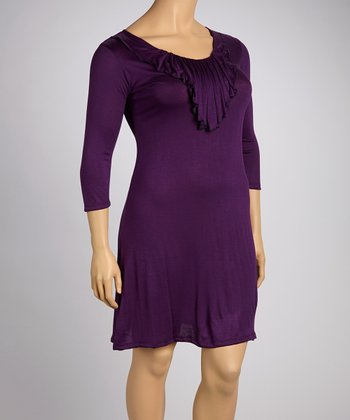 Purple Ruffle Elbow-Sleeve Dress - Plus