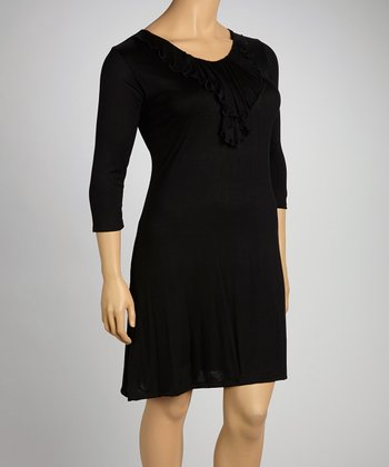 Black Ruffle Elbow-Sleeve Dress - Plus