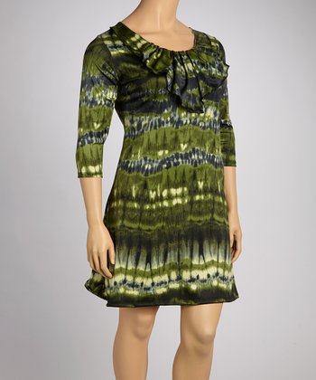 Green Tie-Dye Ruffle Elbow-Sleeve Dress - Plus