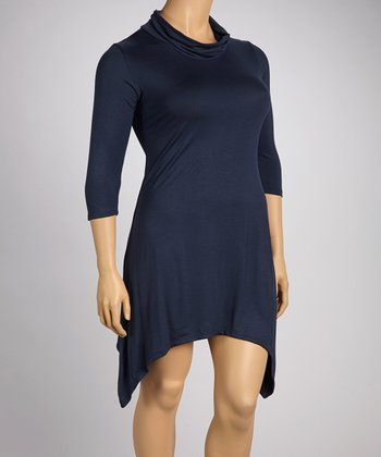 Navy Sidetail Dress - Plus