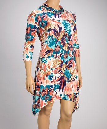 Turquoise & Coral Floral Sidetail Dress - Plus