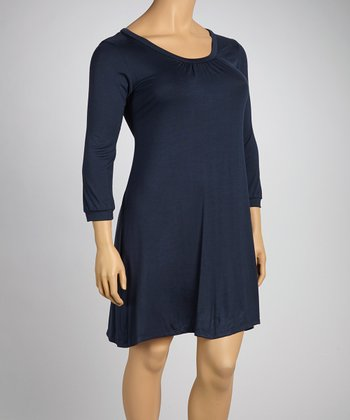 Navy Shift Dress - Plus