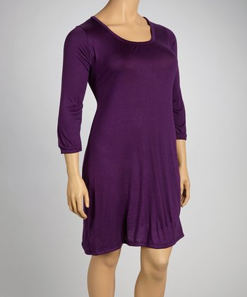 Purple Shift Dress - Plus