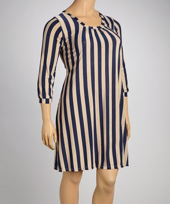 Navy & Cream Stripe Shift Dress - Plus