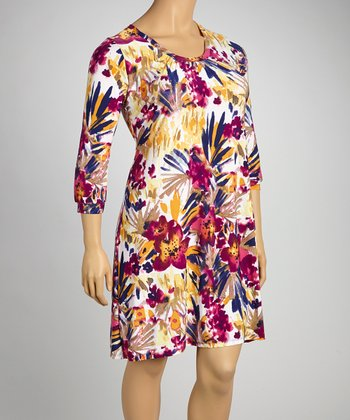 Pink Floral Shift Dress - Plus