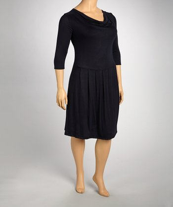 Navy Drape Dress - Plus