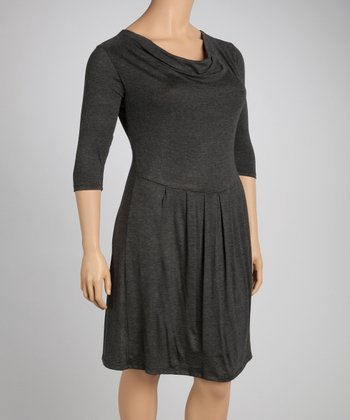 Charcoal Drape Dress - Plus