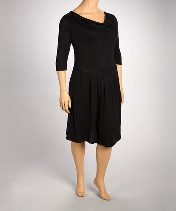 Black Drape Dress - Plus