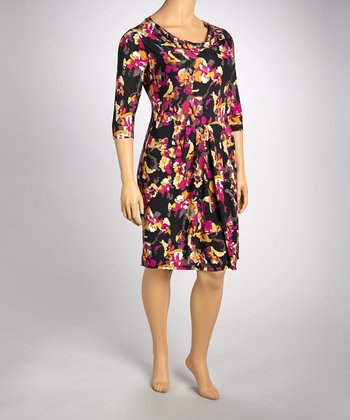 Pink & Black Floral Drape Dress - Plus