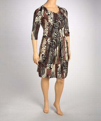 Cream & Brown Swirl Drape Dress - Plus