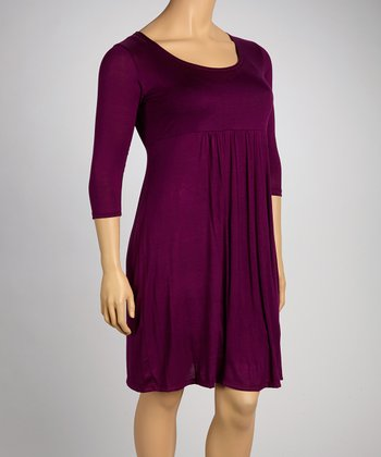 Purple Empire-Waist Dress - Plus