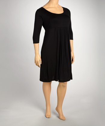 Black Empire-Waist Dress - Plus