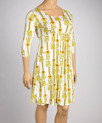 Yellow Floral Empire-Waist Dress - Plus