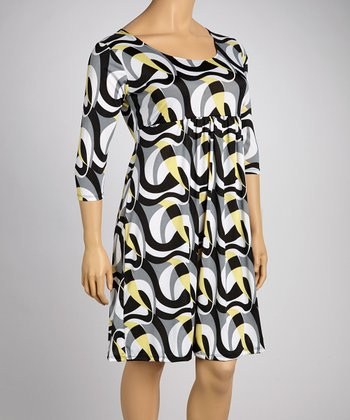 Black & Yellow Abstract Empire-Waist Dress - Plus