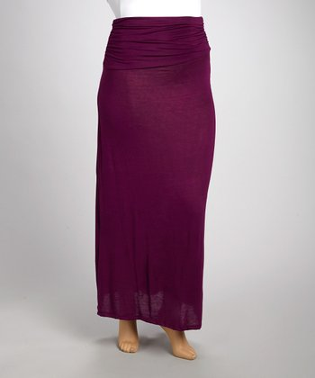 Purple Gathered Maxi Skirt - Plus
