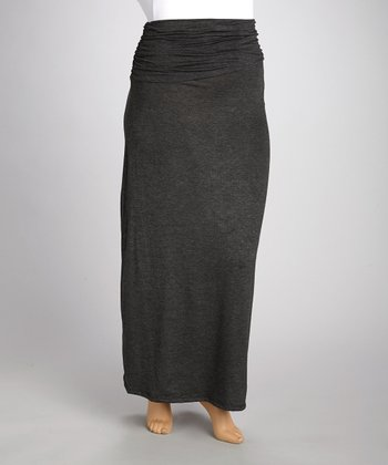 Charcoal Gathered Maxi Skirt - Plus