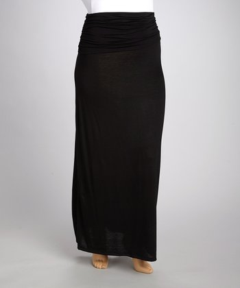 Black Gathered Maxi Skirt - Plus