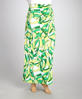 Green Abstract Gathered Maxi Skirt - Plus