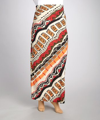 Cream & Orange Tribal Gathered Maxi Skirt - Plus