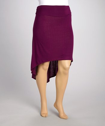 Purple Gathered Hi-Low Skirt - Plus