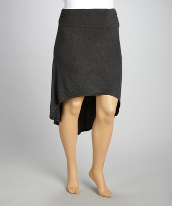 Charcoal Gathered Hi-Low Skirt - Plus
