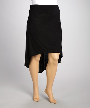 Black Gathered Hi-Low Skirt - Plus