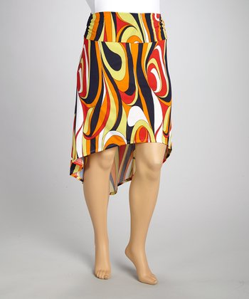 Orange & Black Abstract Gathered Hi-Low Skirt - Plus