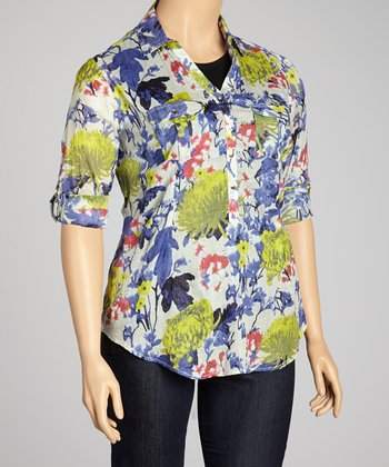 Taupe & Blue Chrysanthemum Gold Button Top - Plus