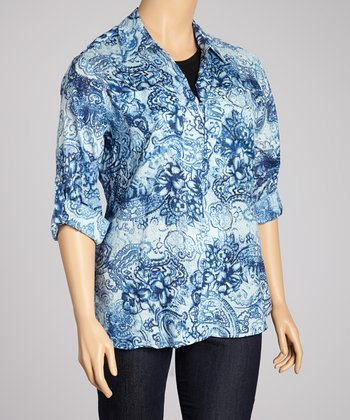 Blue Abstract Three-Button Top - Plus