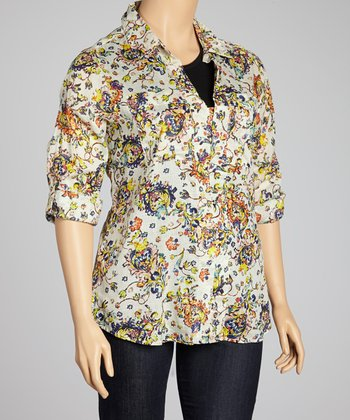 Cream & Yellow Wildflower Three-Button Top - Plus