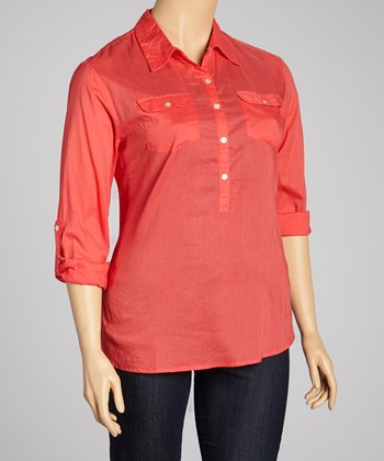 Red Half-Button Top - Plus