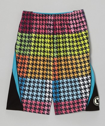 Yellow & Orange Houndstooth Shorts - Boys