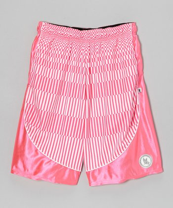 Pink Stripe Dazzle Shorts - Kids