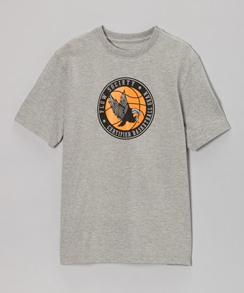 Heather Gray Hoops Logo Tee - Kids