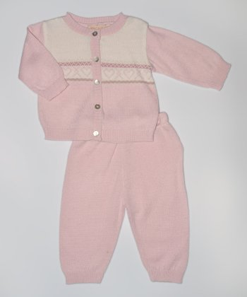 Pink & Cream Cardigan & Pants - Infant