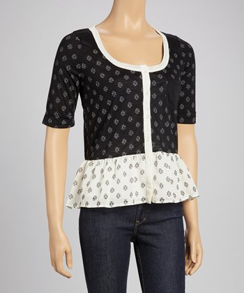 Black & White Pocket Peplum Top