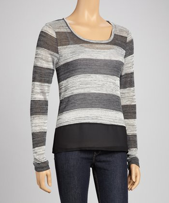 Black & Shearling Bold Stripe Sweater