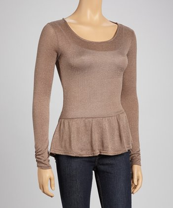 Walnut Peplum Top