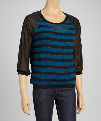 Real Teal & Black Texture Stripe Blouson Sweater