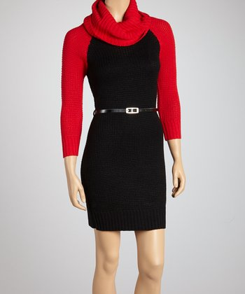 Poppy Red & Black Color Block Cowl Neck Dress