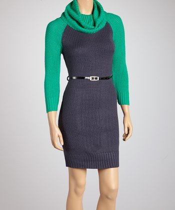 Jade & Coal Color Block Cowl Neck Dress