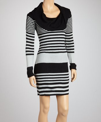 Black & Ice Gray Stripe Cowl Neck Dress