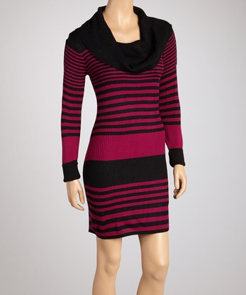 Black & Deepest Ruby Stripe Cowl Neck Dress