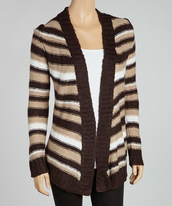 Darkest Brown & Winter White Fly Away Open Cardigan
